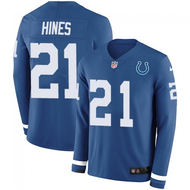 Nike Colts #21 Nyheim Hines Royal Blue Team Color Men's Stitched NFL Limited Therma Long Sleeve Jersey