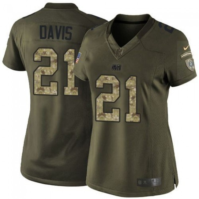 Women's Colts #21 Vontae Davis Green Stitched NFL Limited Salute to Service Jersey