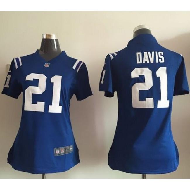 Women's Colts #21 Vontae Davis Royal Blue Team Color Stitched NFL Elite Jersey