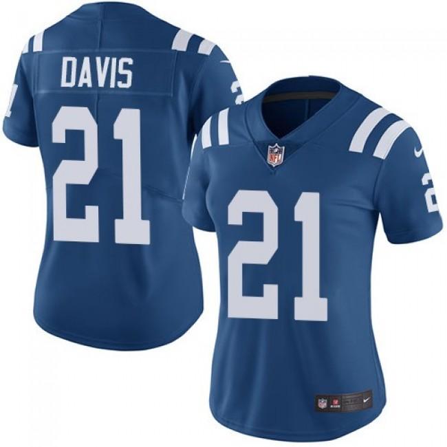 Women's Colts #21 Vontae Davis Royal Blue Team Color Stitched NFL Vapor Untouchable Limited Jersey