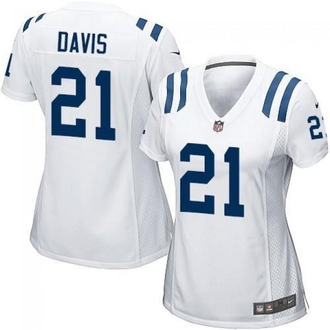 Women's Colts #21 Vontae Davis White Stitched NFL Elite Jersey