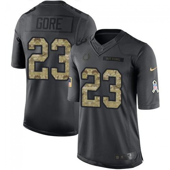 Indianapolis Colts #23 Frank Gore Black Youth Stitched NFL Limited 2016 Salute to Service Jersey