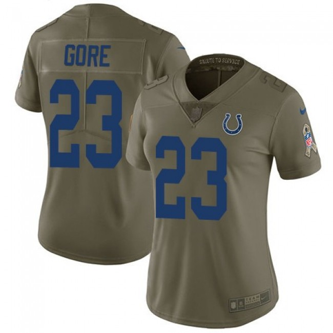 Women's Colts #23 Frank Gore Olive Stitched NFL Limited 2017 Salute to Service Jersey