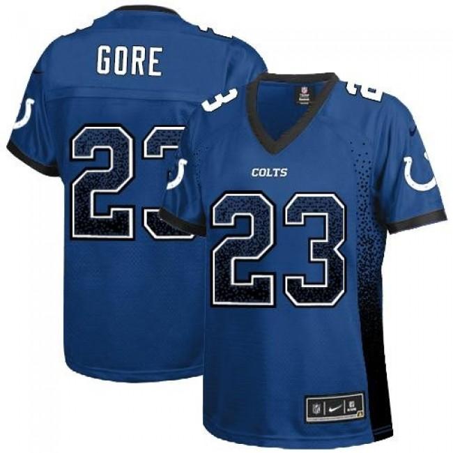 Women's Colts #23 Frank Gore Royal Blue Team Color Stitched NFL Elite Drift Jersey