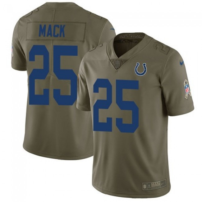 Nike Colts #25 Marlon Mack Olive Men's Stitched NFL Limited 2017 Salute To Service Jersey