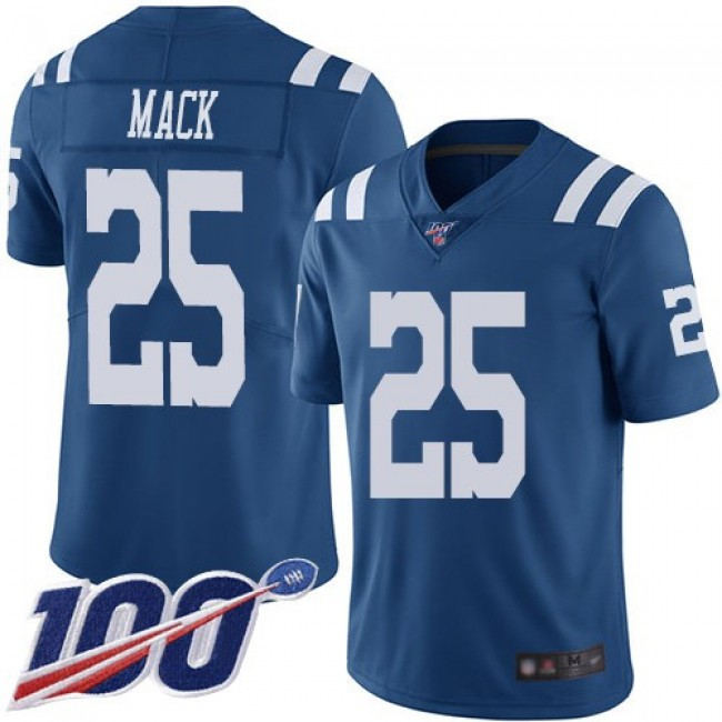 Nike Colts #25 Marlon Mack Royal Blue Men's Stitched NFL Limited Rush 100th Season Jersey