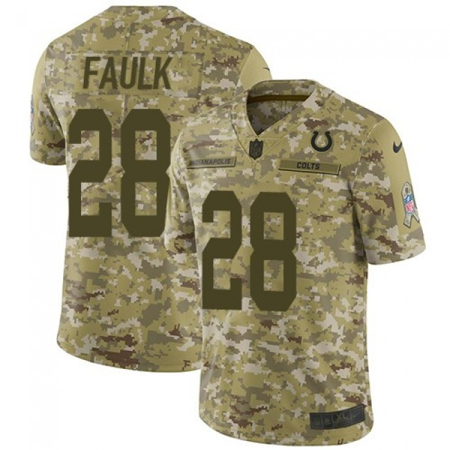 Nike Colts #28 Marshall Faulk Camo Men's Stitched NFL Limited 2018 Salute To Service Jersey