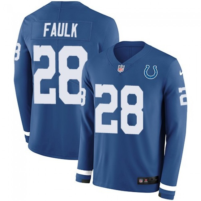 Nike Colts #28 Marshall Faulk Royal Blue Team Color Men's Stitched NFL Limited Therma Long Sleeve Jersey