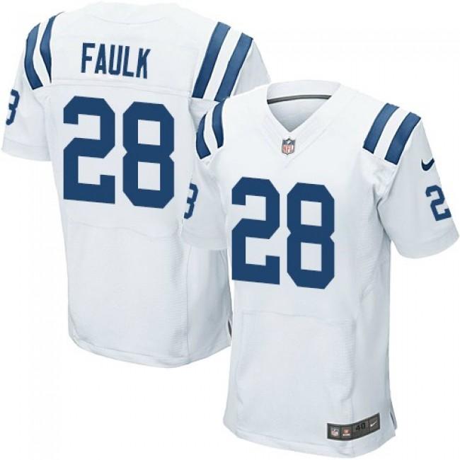 Nike Colts #28 Marshall Faulk White Men's Stitched NFL Elite Jersey