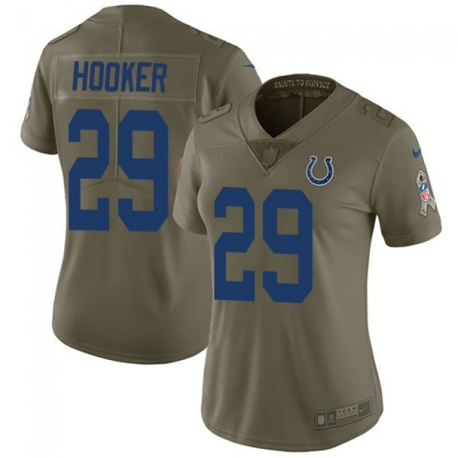 Women's Colts #29 Malik Hooker Olive Stitched NFL Limited 2017 Salute to Service Jersey