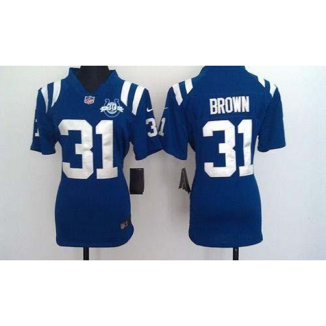 Women's Colts #31 Donald Brown Royal Blue Team Color With 30TH Seasons Patch Stitched NFL Elite Jersey