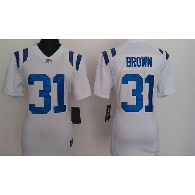 Women's Colts #31 Donald Brown White Stitched NFL Elite Jersey