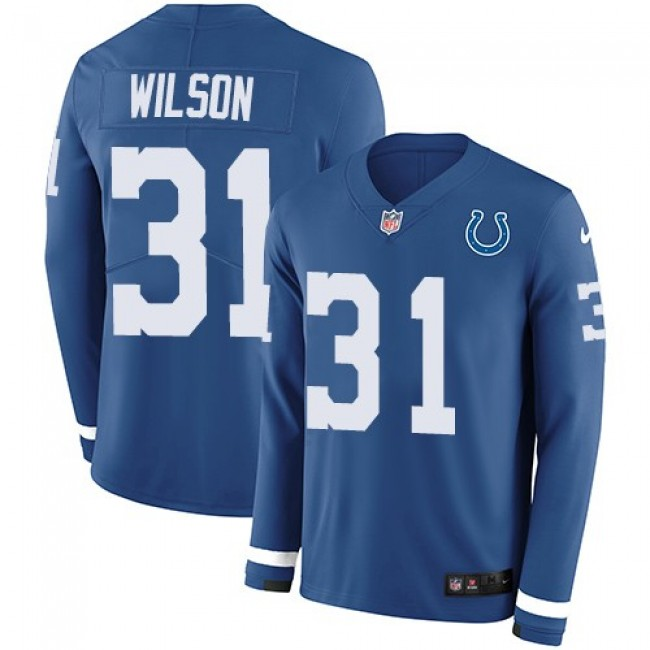 Nike Colts #31 Quincy Wilson Royal Blue Team Color Men's Stitched NFL Limited Therma Long Sleeve Jersey