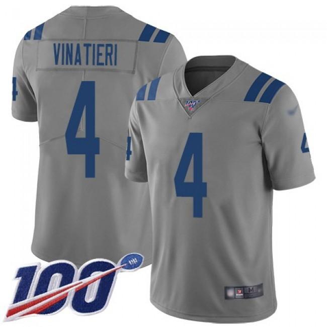 Nike Colts #4 Adam Vinatieri Gray Men's Stitched NFL Limited Inverted Legend 100th Season Jersey