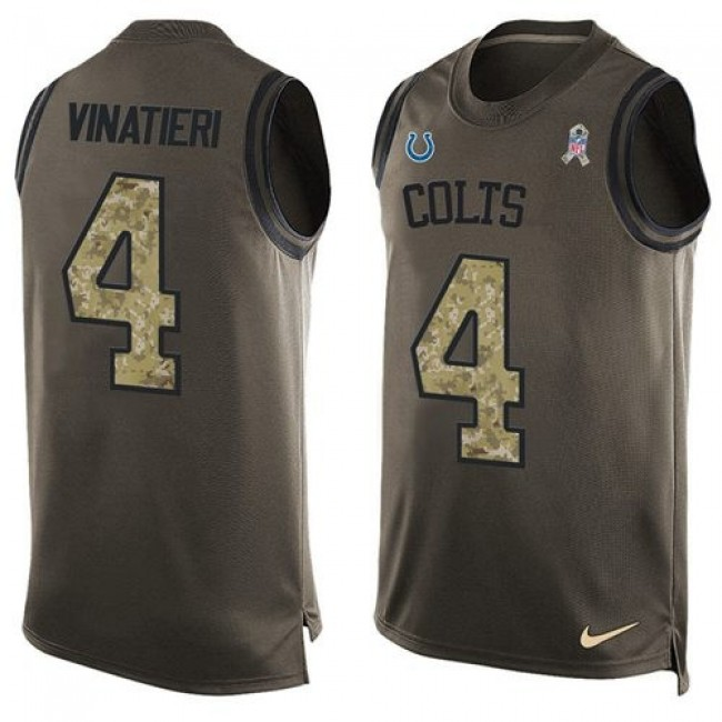 Nike Colts #4 Adam Vinatieri Green Men's Stitched NFL Limited Salute To Service Tank Top Jersey