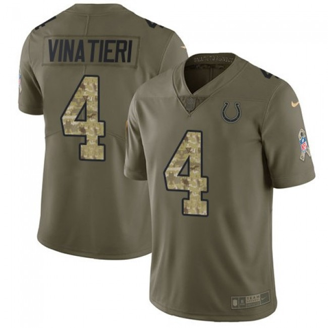 Nike Colts #4 Adam Vinatieri Olive/Camo Men's Stitched NFL Limited 2017 Salute To Service Jersey