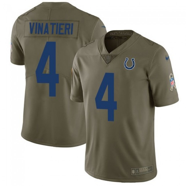 Nike Colts #4 Adam Vinatieri Olive Men's Stitched NFL Limited 2017 Salute to Service Jersey