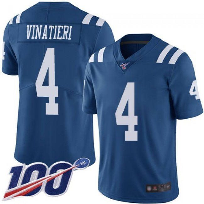 Nike Colts #4 Adam Vinatieri Royal Blue Men's Stitched NFL Limited Rush 100th Season Jersey