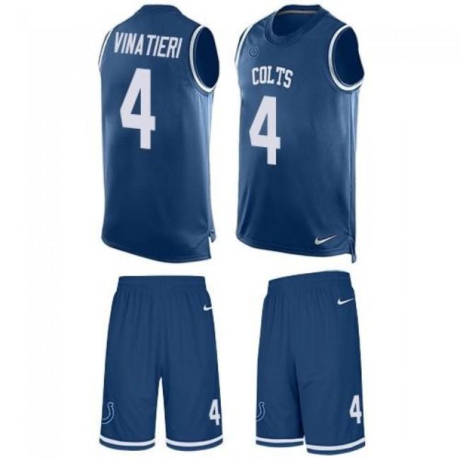 Nike Colts #4 Adam Vinatieri Royal Blue Team Color Men's Stitched NFL Limited Tank Top Suit Jersey