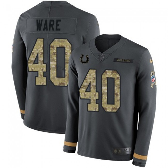Nike Colts #40 Spencer Ware Anthracite Salute to Service Men's Stitched NFL Limited Therma Long Sleeve Jersey