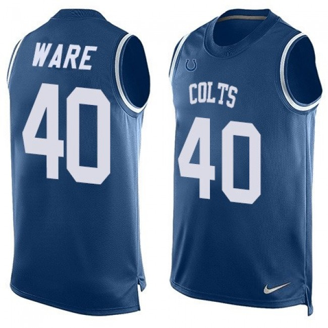 Nike Colts #40 Spencer Ware Royal Blue Team Color Men's Stitched NFL Limited Tank Top Jersey