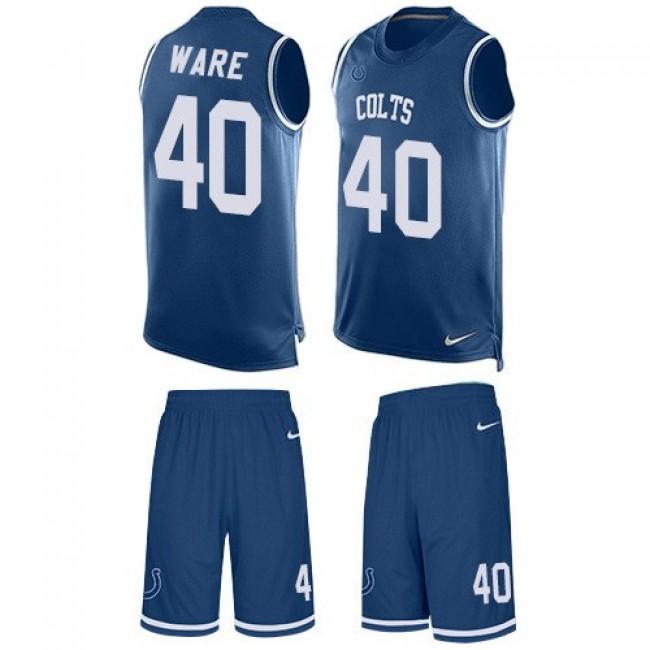 Nike Colts #40 Spencer Ware Royal Blue Team Color Men's Stitched NFL Limited Tank Top Suit Jersey