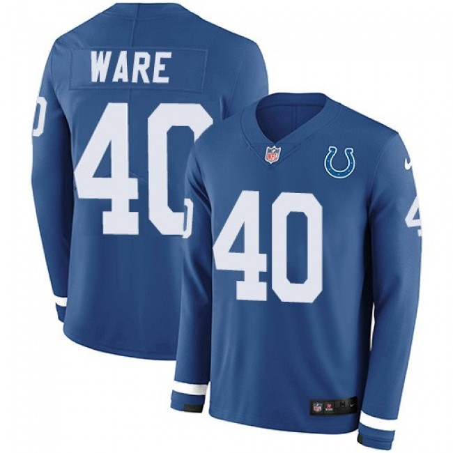 Nike Colts #40 Spencer Ware Royal Blue Team Color Men's Stitched NFL Limited Therma Long Sleeve Jersey