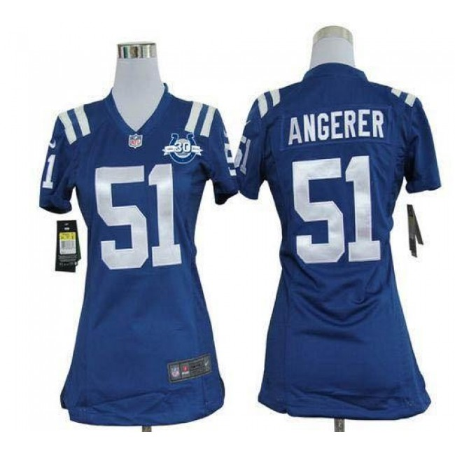 Women's Colts #51 Pat Angerer Royal Blue Team Color With 30TH Seasons Patch Stitched NFL Elite Jersey