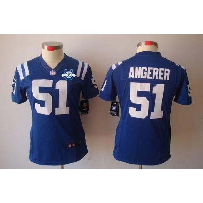Women's Colts #51 Pat Angerer Royal Blue Team Color With 30TH Seasons Patch Stitched NFL Limited Jersey