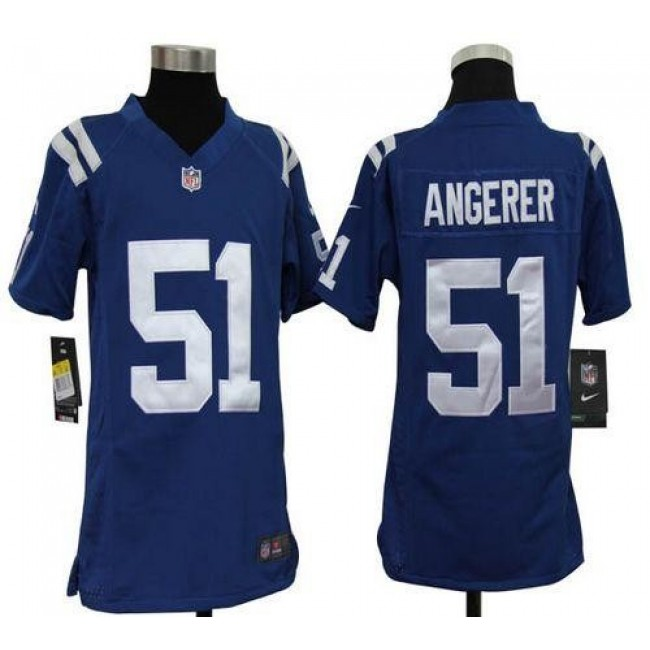 Indianapolis Colts #51 Pat Angerer Royal Blue Team Color Youth Stitched NFL Elite Jersey
