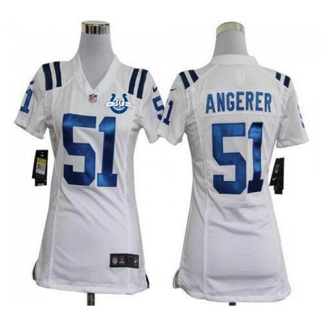Women's Colts #51 Pat Angerer White With 30TH Seasons Patch Stitched NFL Elite Jersey