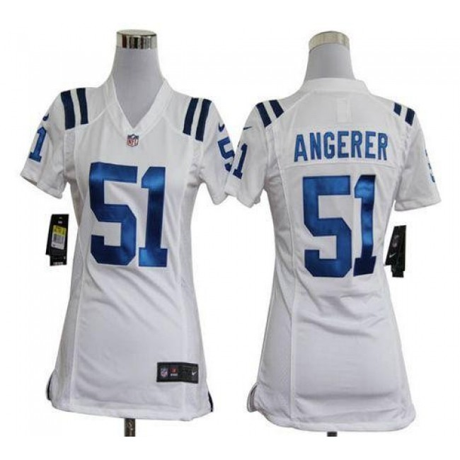 Women's Colts #51 Pat Angerer White Stitched NFL Elite Jersey
