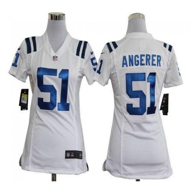 Women's Colts #51 Pat Angerer White Stitched NFL Elite Jersey
