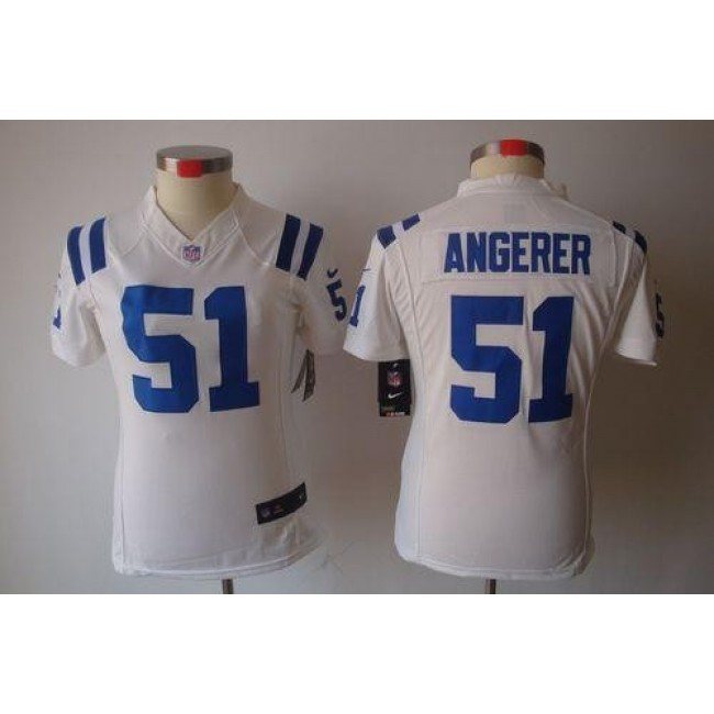 Women's Colts #51 Pat Angerer White Stitched NFL Limited Jersey