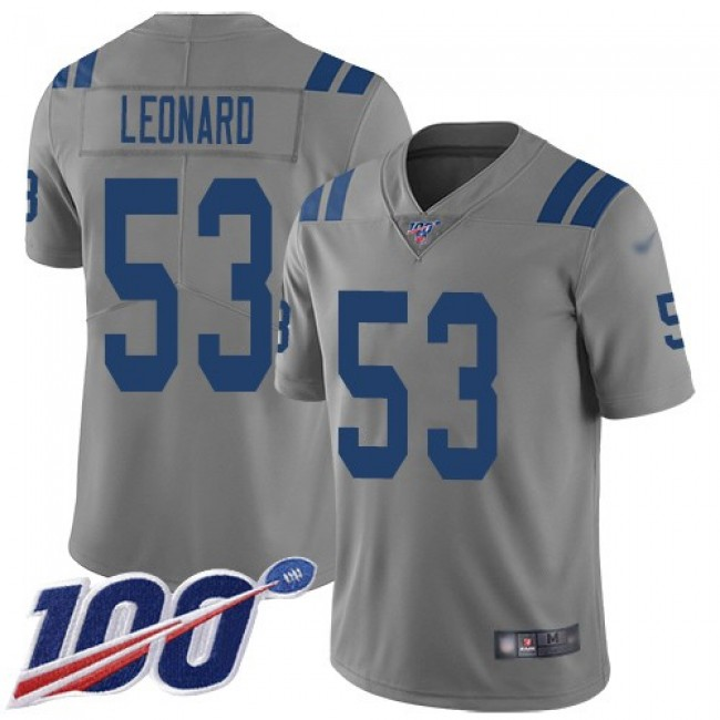 Nike Colts #53 Darius Leonard Gray Men's Stitched NFL Limited Inverted Legend 100th Season Jersey