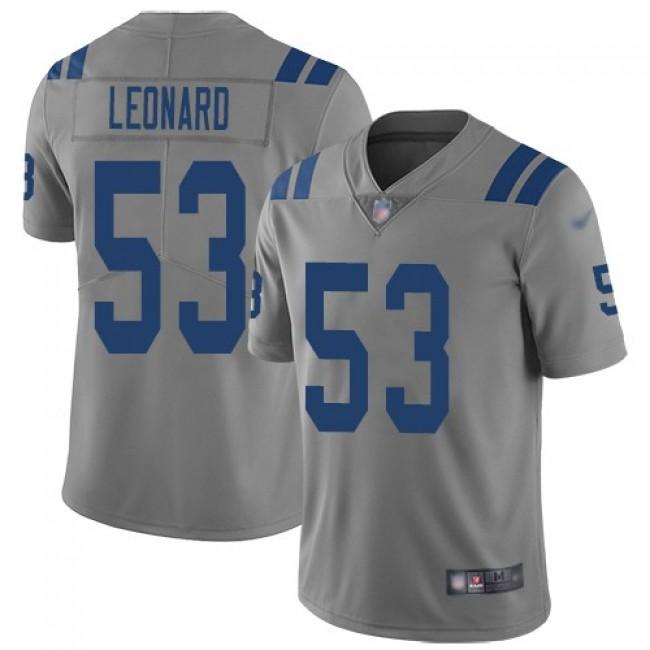 Nike Colts #53 Darius Leonard Gray Men's Stitched NFL Limited Inverted Legend Jersey