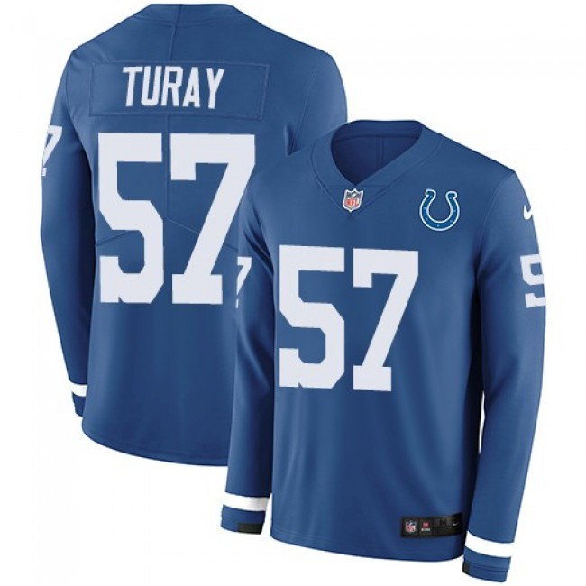Nike Colts #57 Kemoko Turay Royal Blue Team Color Men's Stitched NFL Limited Therma Long Sleeve Jersey