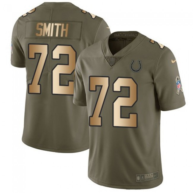 Nike Colts #72 Braden Smith Olive/Gold Men's Stitched NFL Limited 2017 Salute to Service Jersey