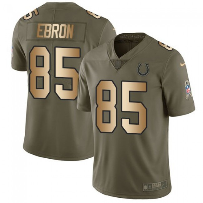 Nike Colts #85 Eric Ebron Olive/Gold Men's Stitched NFL Limited 2017 Salute To Service Jersey
