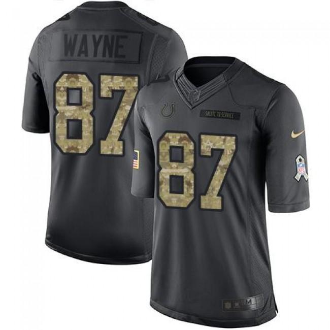 Nike Colts #87 Reggie Wayne Black Men's Stitched NFL Limited 2016 Salute to Service Jersey