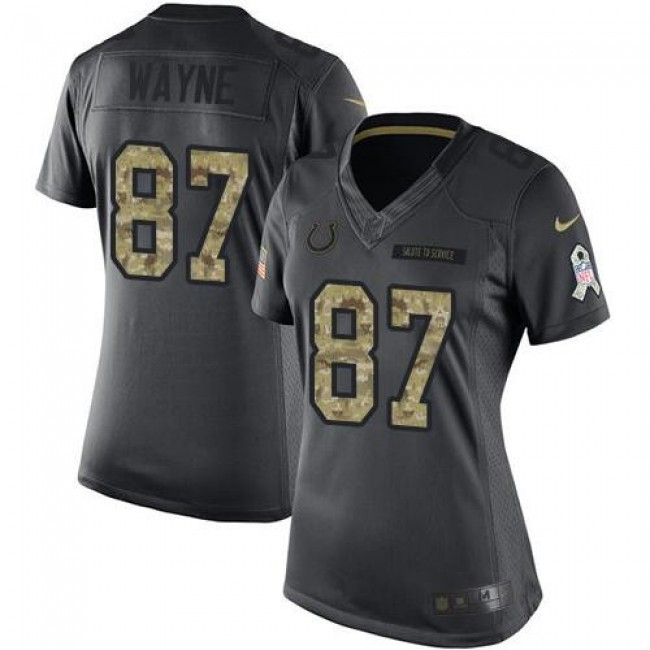 Women's Colts #87 Reggie Wayne Black Stitched NFL Limited 2016 Salute to Service Jersey
