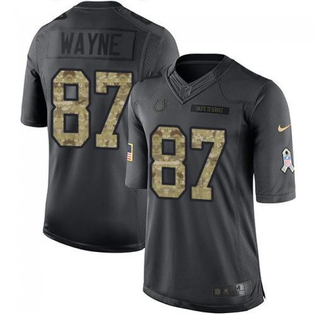 Indianapolis Colts #87 Reggie Wayne Black Youth Stitched NFL Limited 2016 Salute to Service Jersey
