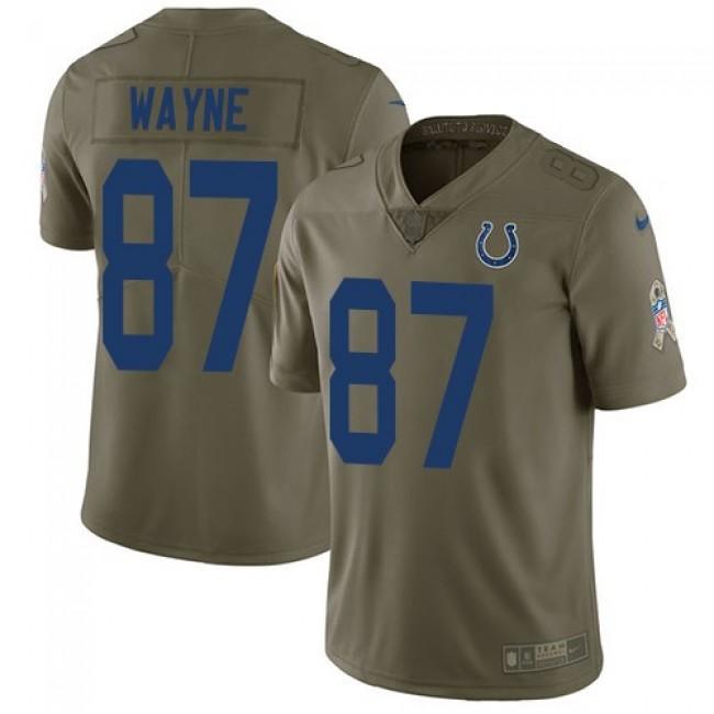 Nike Colts #87 Reggie Wayne Olive Men's Stitched NFL Limited 2017 Salute to Service Jersey