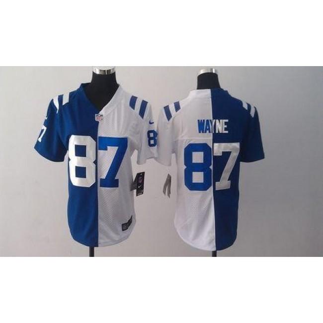 Women's Colts #87 Reggie Wayne Royal Blue White Stitched NFL Elite Split Jersey