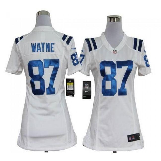Women's Colts #87 Reggie Wayne White Stitched NFL Elite Jersey