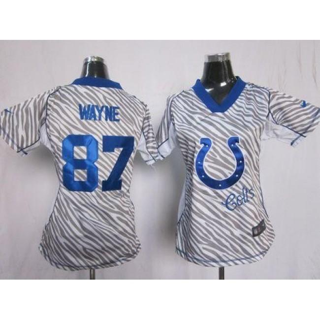Women's Colts #87 Reggie Wayne Zebra Stitched NFL Elite Jersey
