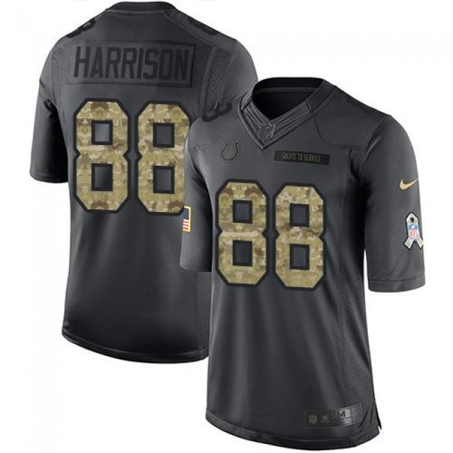 Nike Colts #88 Marvin Harrison Black Men's Stitched NFL Limited 2016 Salute to Service Jersey