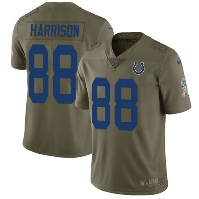 Nike Colts #88 Marvin Harrison Olive Men's Stitched NFL Limited 2017 Salute to Service Jersey