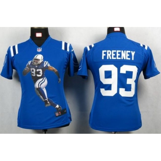 Women's Colts #93 Dwight Freeney Royal Blue Team Color Portrait NFL Game Jersey