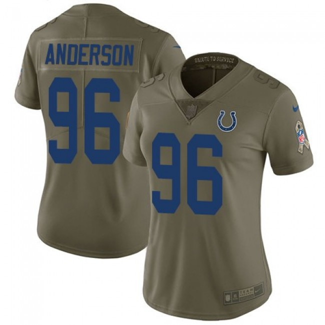 Women's Colts #96 Henry Anderson Olive Stitched NFL Limited 2017 Salute to Service Jersey